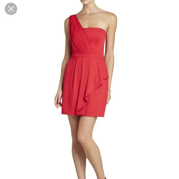 BCBG Dresses & Skirts - BCBG Red One Shoulder Dress